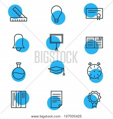 Editable Pack Of Trophy, Bookshelf, Paper And Other Elements.  Vector Illustration Of 12 Studies Icons.