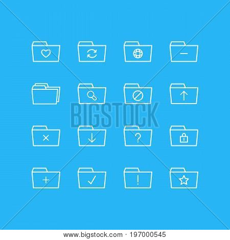 Editable Pack Of Folders, Minus, Submit And Other Elements.  Vector Illustration Of 16 Folder Icons.