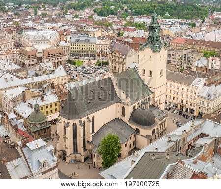 Aerial View on a Sunny Day Over the Cathedral Basilica of the Assumption in Lviv Ukraine