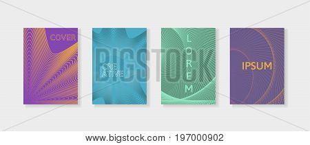 Covers with geometric lines. Applicable for Banners, Placards, Posters and Flyers. Minimal covers design set. Simple shapes with trendy gradients