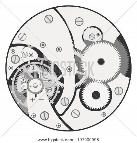 The details of the clock mechanism assembly isolated on a white background.