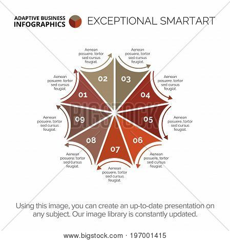 Flower with nine petals diagram. Element of presentation, petal diagram, chart. Concept for infographics, business templates, reports. Can be used for topics like analysis, strategy, business data