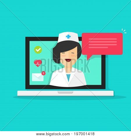 Doctor online vector illustration, flat cartoon woman doctor answers via laptop on-line video technology, remote medical consultation vie internet, telemedicine chat message