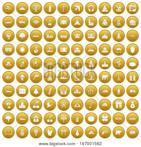 100 world icons set in gold circle isolated on white vector illustration