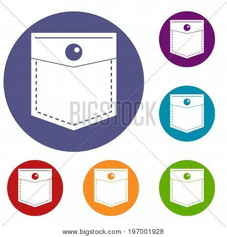 Black pocket symbol icons set in flat circle red, blue and green color for web