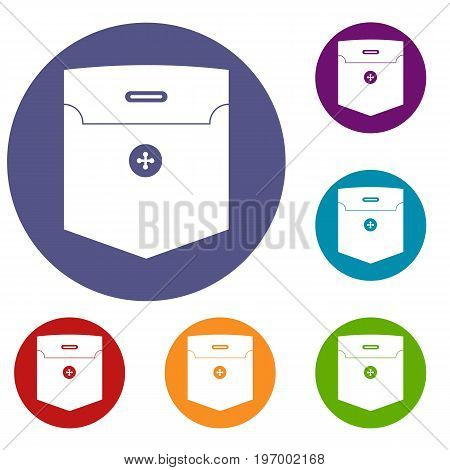 Fashion pocket for shirt icons set in flat circle red, blue and green color for web