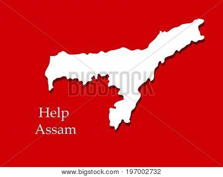 illustration of Assam map with Help Assam text on Assam flood calamity