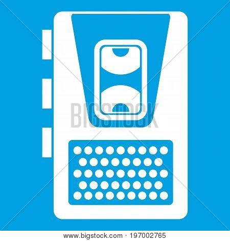 Dictaphone icon white isolated on blue background vector illustration