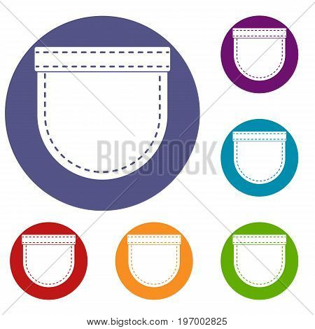 Shirt pocket icons set in flat circle red, blue and green color for web