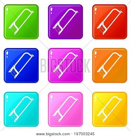 Hacksaw icons of 9 color set isolated vector illustration