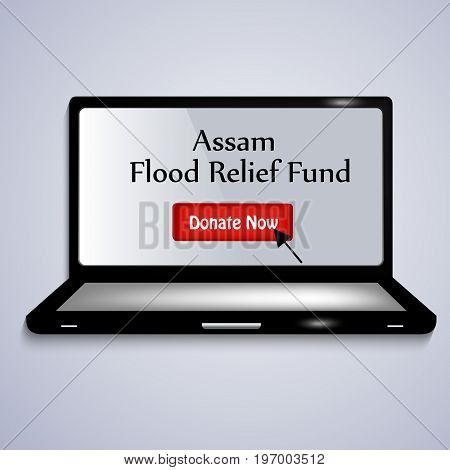 illustration of laptop and arrow with Assam Flood Relief Fund text on Assam flood calamity