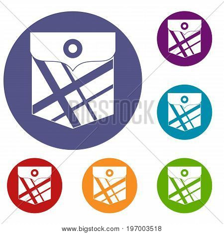 Black pocket patch icons set in flat circle red, blue and green color for web