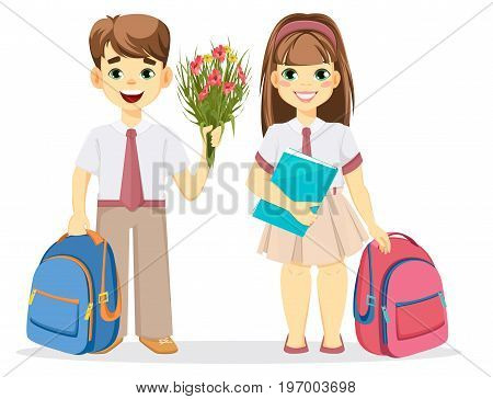 Schoolboy and schoolgirl with backpack. Coming back to school. Cute smiling boy with flowers and girl with textbook. Cartoon characters. Vector illustration.