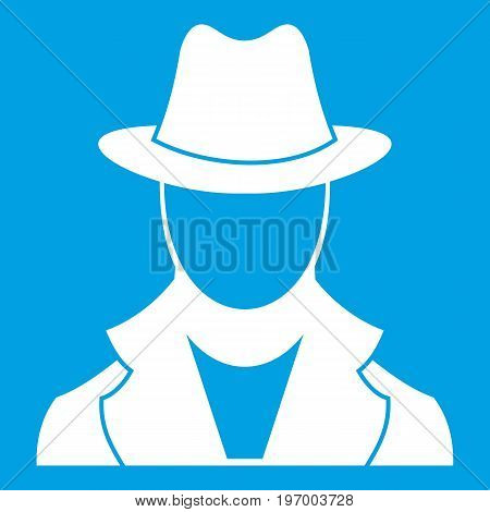 Spy icon white isolated on blue background vector illustration