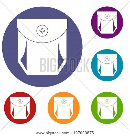 Jeans pocket with button icons set in flat circle red, blue and green color for web