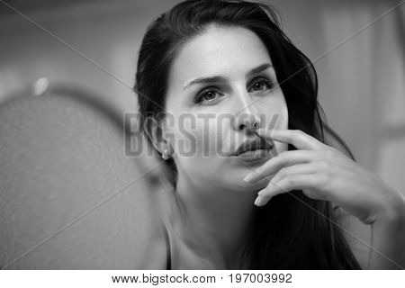 Seductive woman portrait and mirror