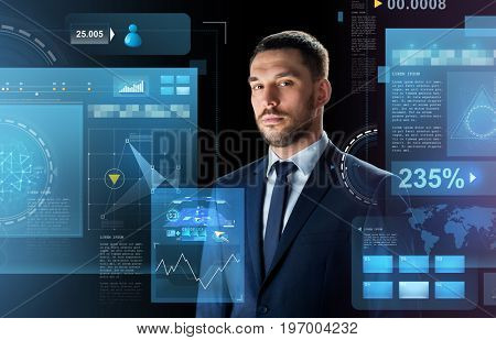 business, people and technology concept - businessman in suit over black background with virtual screens