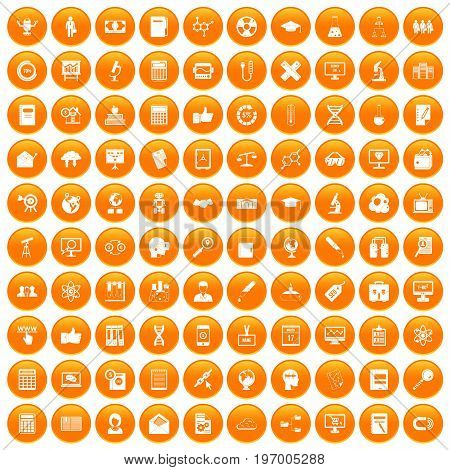 100 analytics icons set in orange circle isolated on white vector illustration