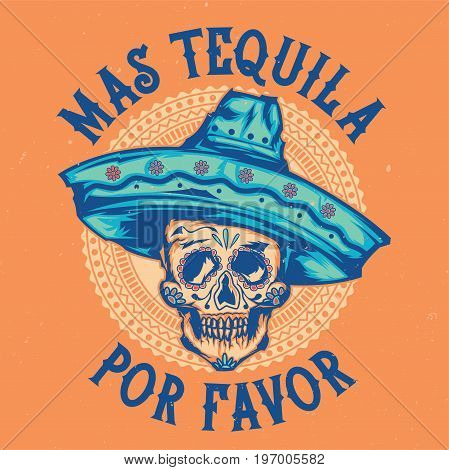 T-shirt label design with illustration of mexican skull in sombrero