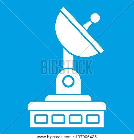 Satellite dish icon white isolated on blue background vector illustration