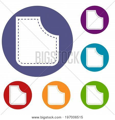 Abstract pocket icons set in flat circle red, blue and green color for web