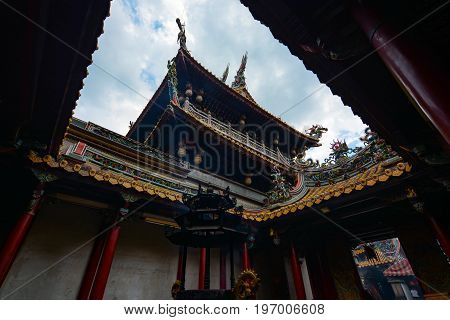 YUNLIN, TAIWAN - AUGUST 18, 2016 - Incense burner and courtyard at Beigang Chaotian Temple, one of Taiwan's most important Mazu temples