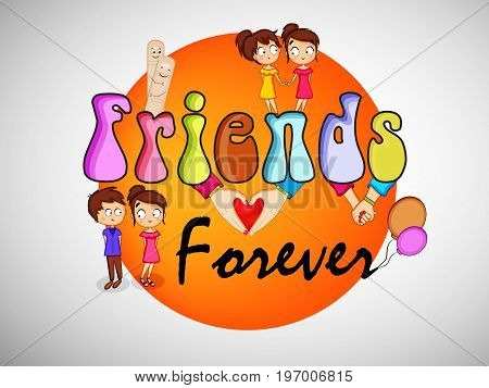 illustration of elements of boy, girl and balloons with friends forever text on the occasion of friendship day