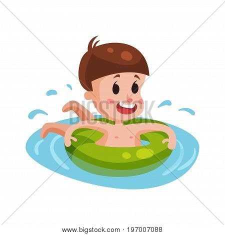 Happy boy swimming with green inflatable buoy, kid having fun in the pool or the sea colorful character vector Illustration on a white background