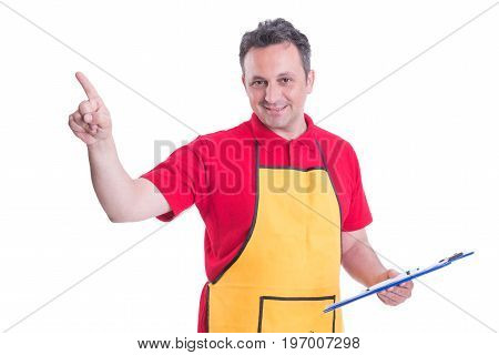 Friendly Employee With Clipboard Pointing The Screen