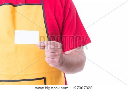Salesman With Apron Showing Empty Visit Card