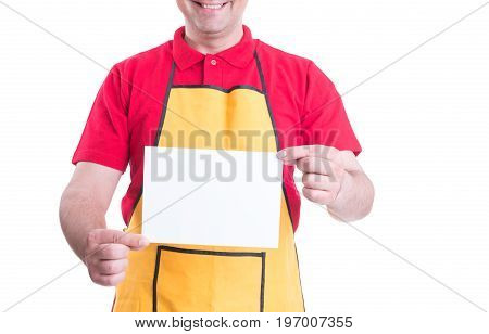 Male Clerk Holding Blank Paper In Hands