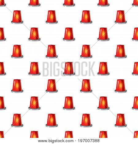 Siren red flashing emergency light pattern seamless repeat in cartoon style vector illustration