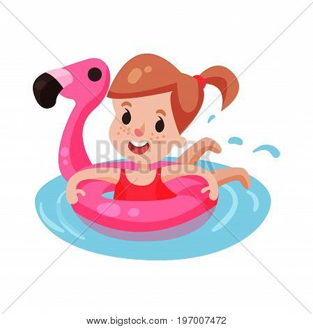 Happy girl swimming with pink inflatable lifebuoy, kid having fun in the pool or the sea colorful character vector Illustration on a white background