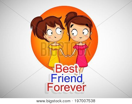 illustration of girls with best friend forever text on the occasion of friendship day