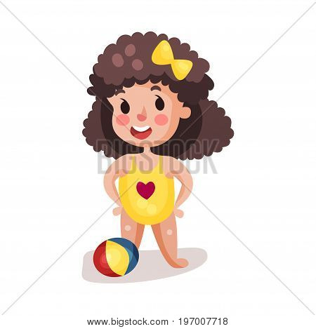 Little boy wearing yellow swimsuit playing with a ball, kid having fun on the beach colorful character vector Illustration on a white background