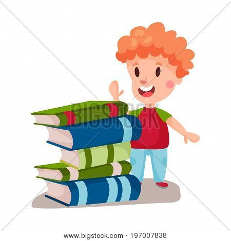 Cute redhead boy standing next to a pile of books, education and knowledge concept, colorful character vector Illustration on a white background