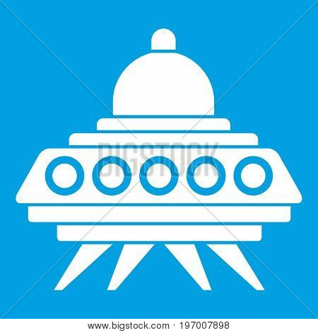 Alien spaceship icon white isolated on blue background vector illustration
