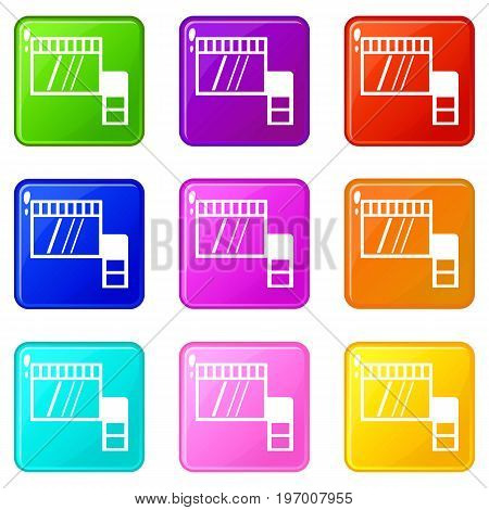 Memory card icons of 9 color set isolated vector illustration