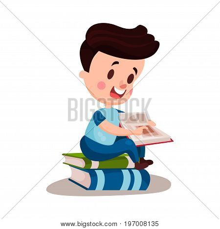 Cute boy reading a book sitting on a pile of books, education and knowledge concept, colorful character vector Illustration on a white background