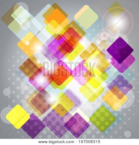 Abstract background with transparent squares. Vector illustration.