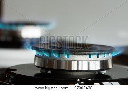 Propane Gas Burner Burn On Stove Close Up.
