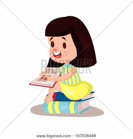 Sweet brunette girl reading a book sitting on a pile of books, education and knowledge concept, colorful character vector Illustration on a white background