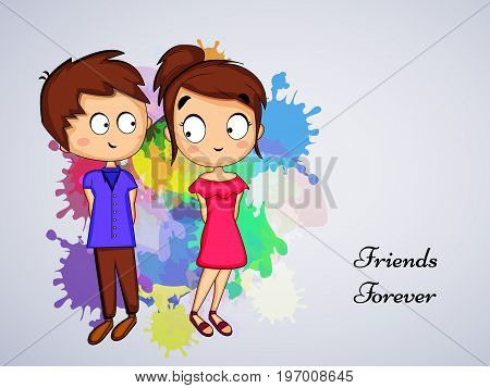 illustration of boy and girl with friends forever text on the occasion of friendship day