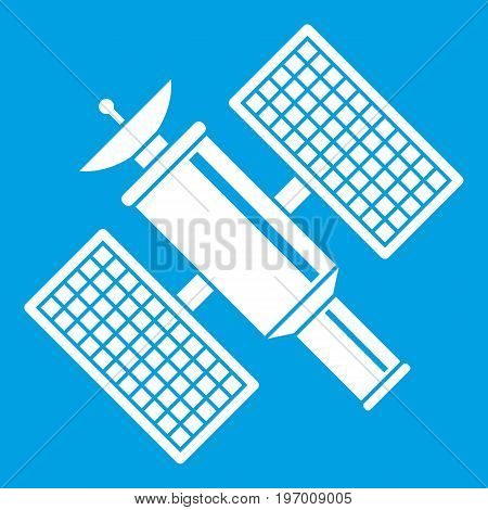 Space satellite icon white isolated on blue background vector illustration