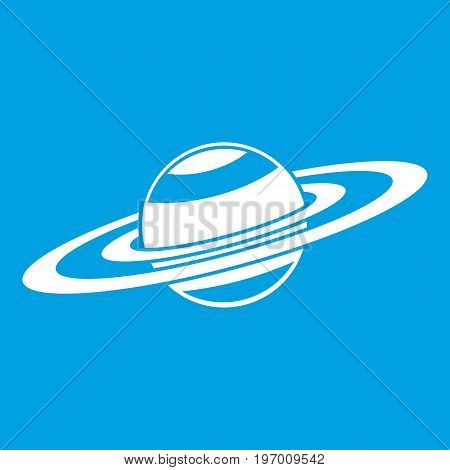 Saturn rings icon white isolated on blue background vector illustration