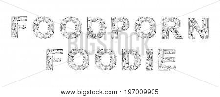 Words FOODPORN an FOODIE made of cutlery on white background. Creative design
