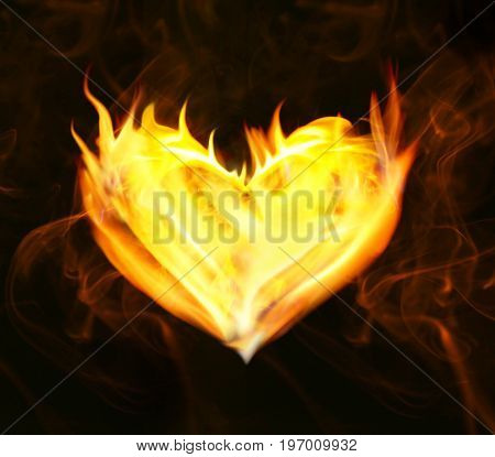 Heart of fire on black background
