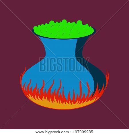 flat illustration on stylish background of potion cauldron