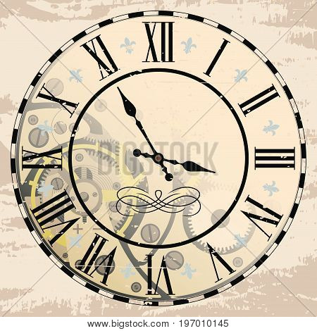 Vintage Roman numeral clock with mechanism. Vector drawing the effect of aging.