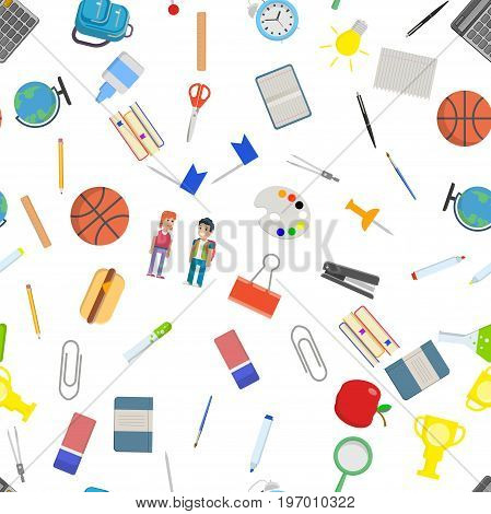 Different school objects in good seamless pattern. Flat vector illustration.